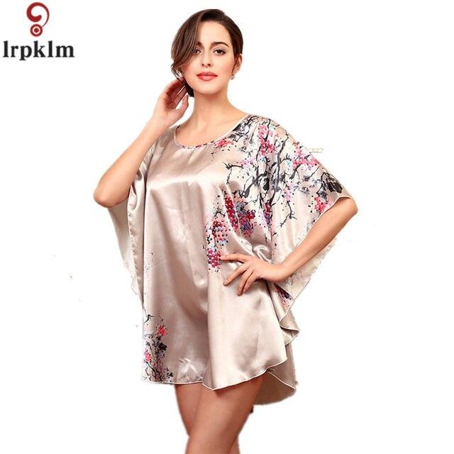 Online Shop Sleepshirts Women Nightgown Faux Silk Sleepwear Women ...