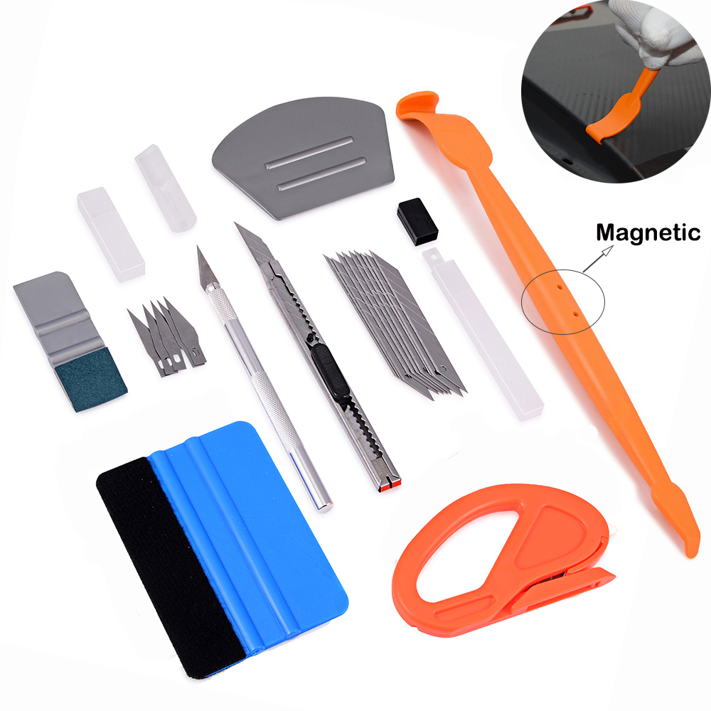 EHDIS Vinyl Wrap Car Magnet Squeegee Scraper Cutter Knife Set Auto Sticker Cut Accessories Carbon Foil Film Wrapping Tools Kit