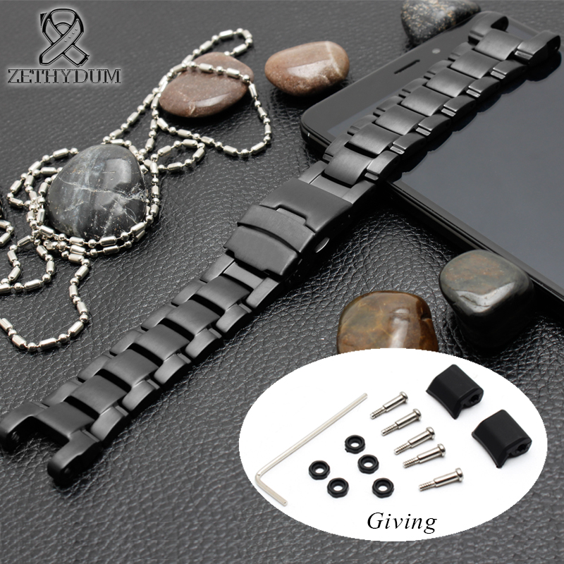Bracelet de montre en acier inoxydable pour casio g-shock GA-1000/G-1400/GW-A1100/GW-4000 bracelet de montre bouton bracelet sangle bande noire