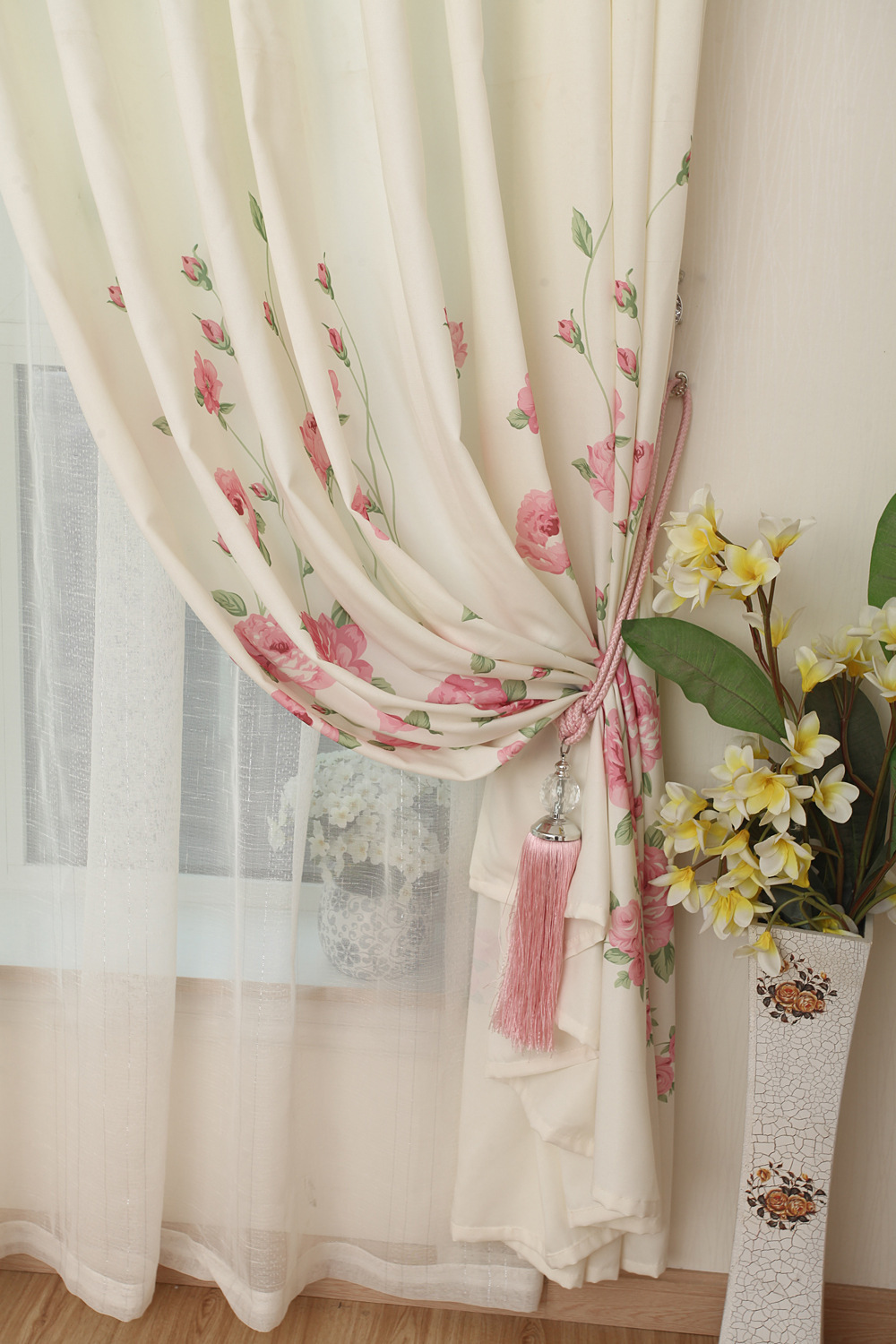 Cute living room curtains - Online O2 Princess Rustic Finished Products Fabric Rose Cute Little Flowers Living Room Girls Country Curtains No Include Valance