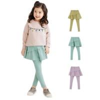 2017 new spring autumn kids leggings girls leggings pants solid candy color girls tutu skirt pants baby girls cotton pants 2-11T