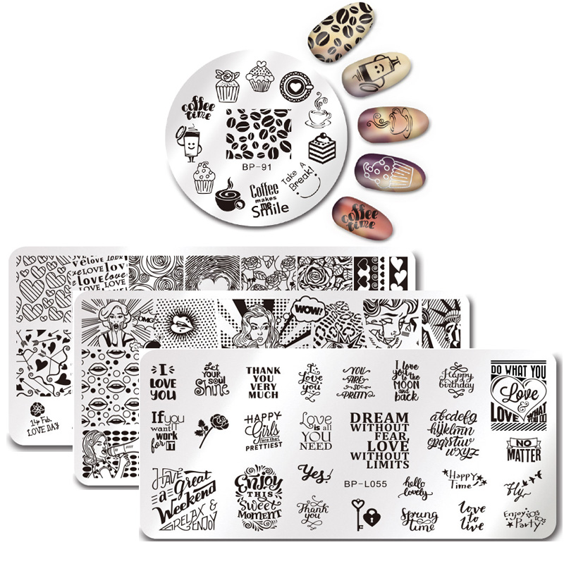 BORN PRETTY Nail Stamping Template Lovely Animals Cats Plant Nail Art Stamp Image Plate Stencils Tool