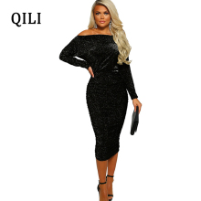QILI Slash Neck Sparkly Silk Dress Women Long Sleeve Off Shoulder Pencil Bodycon Dresses Wine-red Army-green Black Elegant