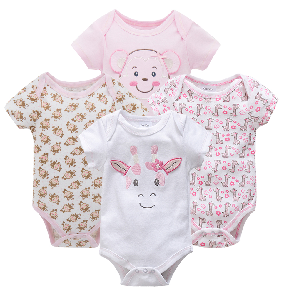 ccf0fb21da539 Kavkas Baby Bodysuits 4pcs Pack 0-9m Short Sleeve Newborn Infant Cartoon  Baby Girl