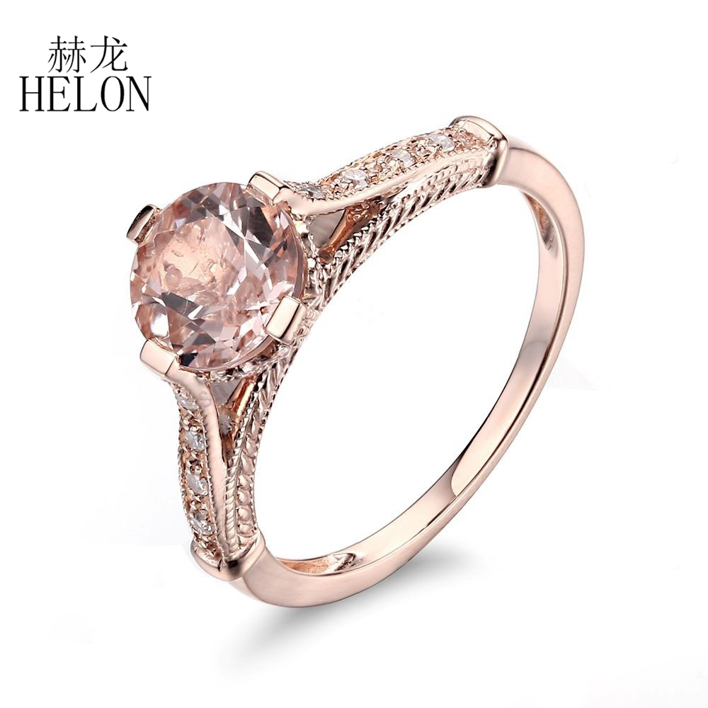купить HELON 1.44ct Morganite Round Cut 7mm Solid 10K Rose Gold Natural Diamonds Fine Gem Ring Engagement Wedding Women's Jewelry Ring по цене 18348.32 рублей