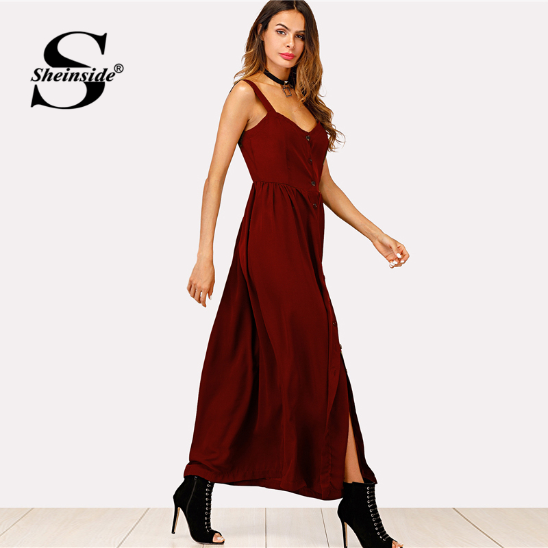 c2a8b4a5af Sheinside Single Breasted Cami Dress Burgundy Sleeveless Button High Waist Maxi  Dress Women Summer Straps Party Dresses-in Dresses from Women's Clothing on  ...