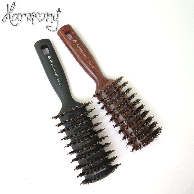 1 piece professional Fashion Boar Bristle Hair Brush with Nylon Stick, Black and brown Color Hair Brush Professional