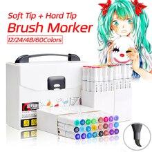 12 24 48 60 Kleuren Zachte Borstel Sketch Markers Pen Permanente Alcohol Gebaseerde Inkt Art Marker Box Set Voor Tekening manga Ontwerp Levert