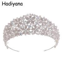 Hadiyana Elegant Queen Princess Bridal Hair Crown Tiaras Shiny Copper Rhinestone Crystal Zircon Wedding Anniversary Party HG6050