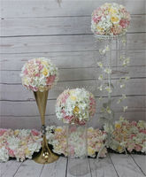 Mezcla de color Rosa champán serie rosa artificial flor de la boda centro de mesa de bola de la flor de pared telón de fondo la flor principal de carreteras