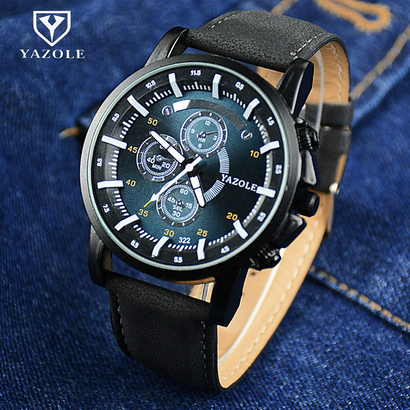 YAZOLE Sport Quartz Watch Men Luminous Analog Military Male Wristwatch Relogio Masculino Montre Homme Saati Leather Reloj Clock