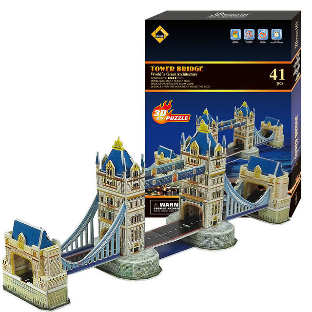 CubicFun 3D Puzzle Paper Model Mini Twin Tower Bridge In London UK No Tools