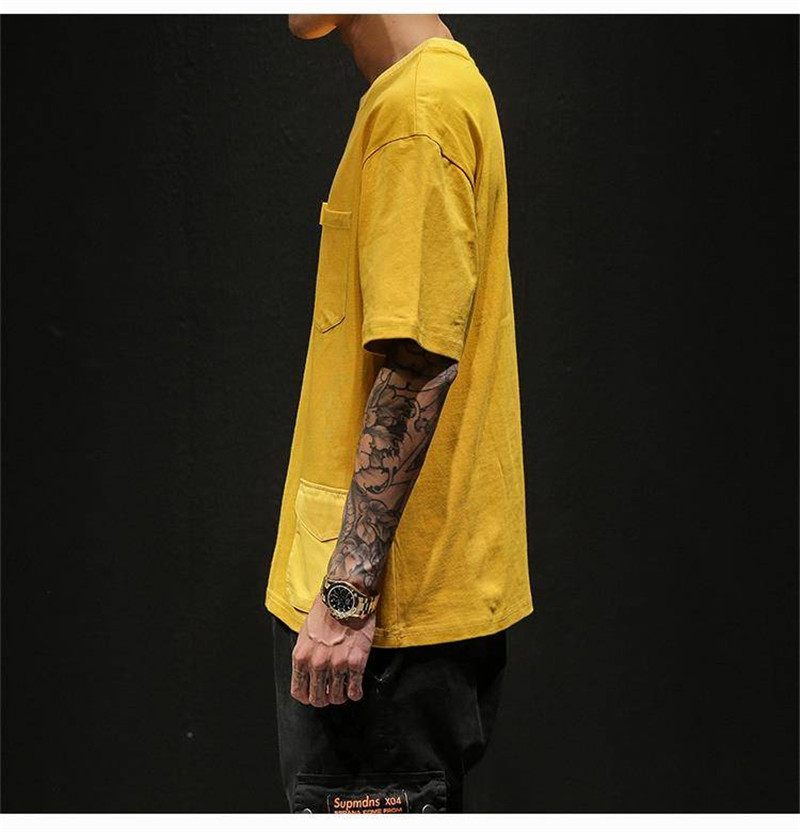 Hip Hop T-shirts Men With pockets Harajuku Oversized Tops Tee Japan Tshirt Streetwear Casual Solid High Street T Shirts Boy 40