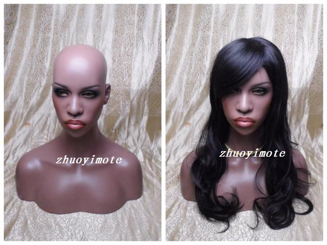 Super simulation model wig accessories glasses display model head props black female mannequin head