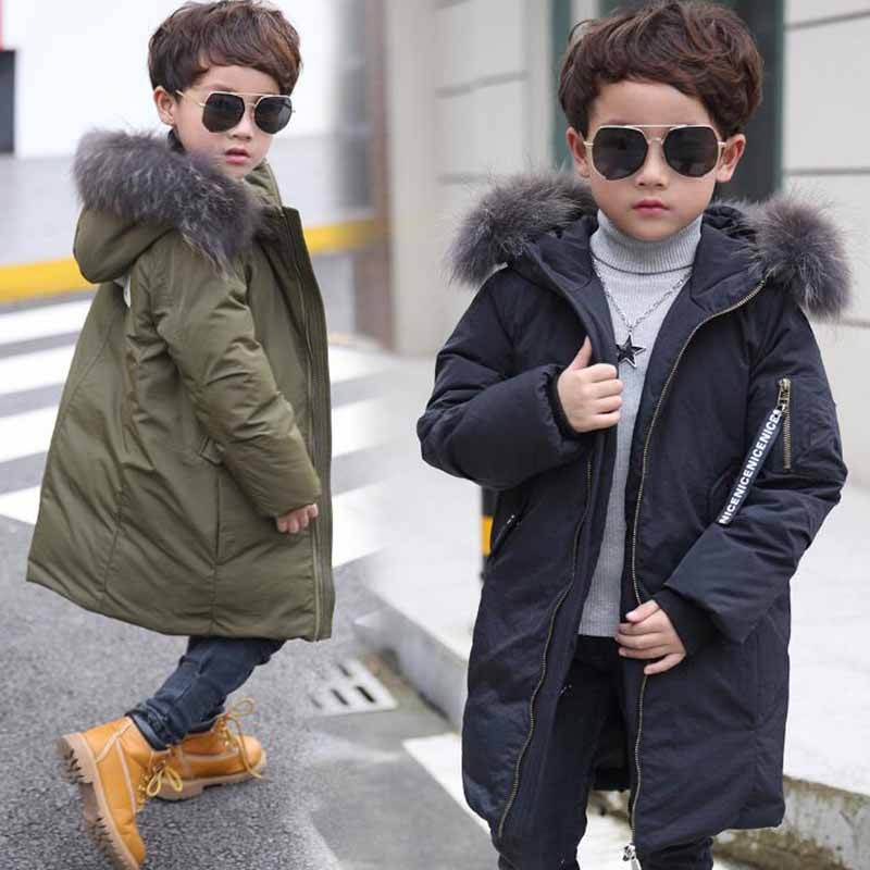 цена на Children NEW Winter Thick Duck Down Boys Long Sections Down Jacket Boy Down Jacket For -25 Cold Winter Boys Coat