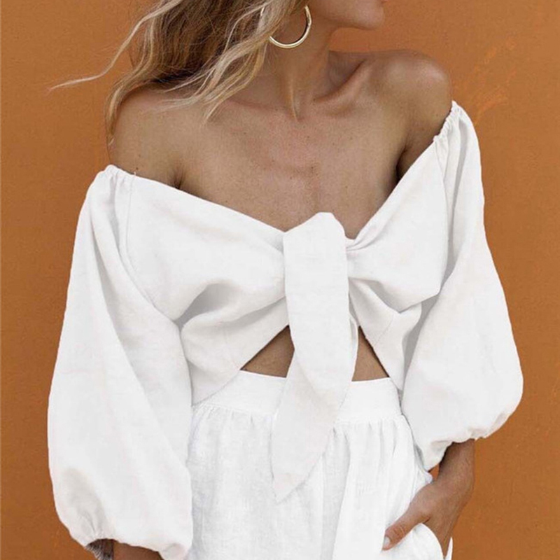 SheMujerSky Sexy Summer Blouse Women Off Shoulder Tops Long Sleeve White Shirt Short Blouses 2019 Moda Mujer