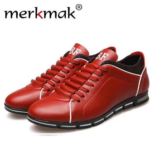 Merkmak ビッグサイズ 38-48 オックスフォードメンズシューズファッションカジュアル英国スタイル秋冬屋外革レースアップ履物ドロップ船