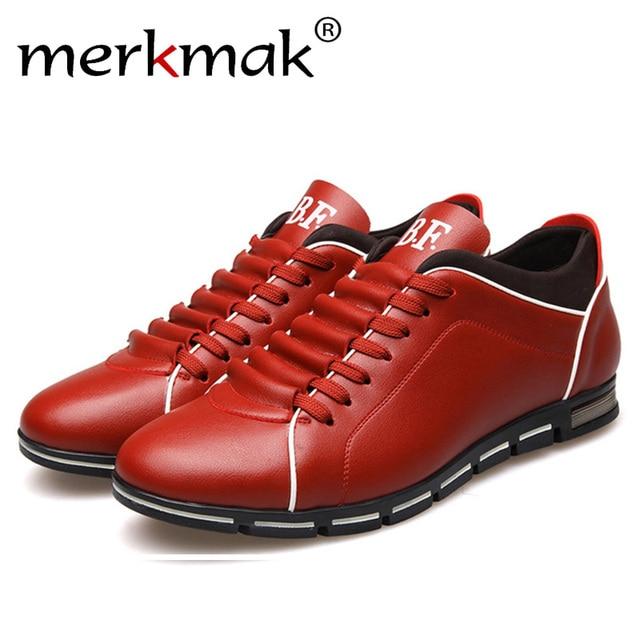 Merkmak Size Lớn 38-48 nam đa cho Nam Anh Phong Cách Thu Đông Ngoài Trời Da Phối Ren giày Thả Con Tàu