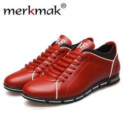 Merkmak tamanho grande 38-48 oxford sapatos masculinos moda casual estilo britânico outono inverno ao ar livre de couro rendas até calçados navio da gota