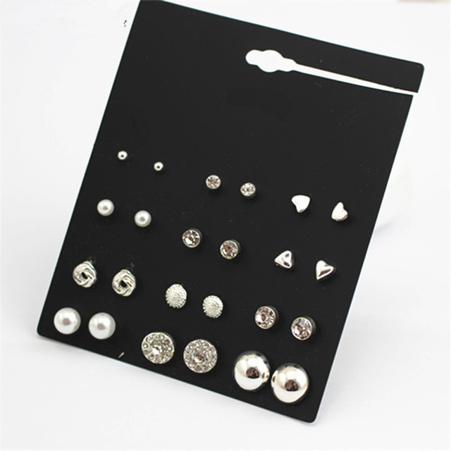 free shipping 12 pairs sets Round Square Ball Alloy Crystal Stud pearl Earrings Silver plated Hot-selling Cute stud earring Sets