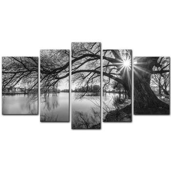 5 Pieces  Canvas Painting Wall Art The Picture for Home Decoration Black and White Tree Silhouette in Sunrise Drop shipping