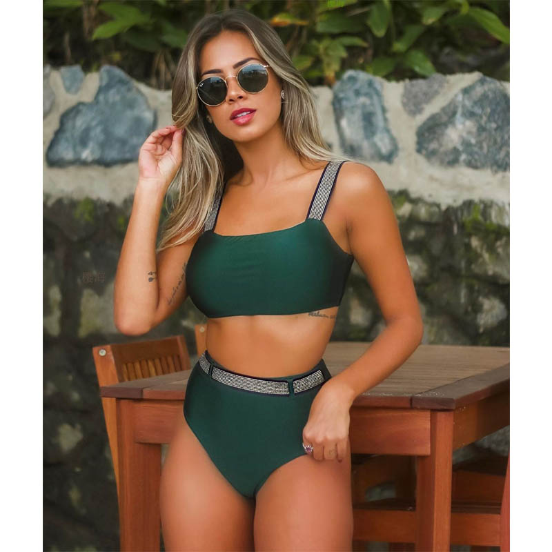 2019 Push Up Sexy Bikini Set High Waist Swimsuit Female Swimwear Women Bathing Suit Strap Bikinis Crop Top Beach Swimsuits Wear