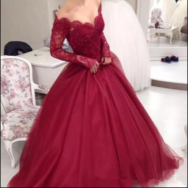 2017 Burgundy Off The Shoulder Long Sleeves Lace Ball Gown Evening Dress Tulle Beaded Floor Length Evening Party Prom dresses