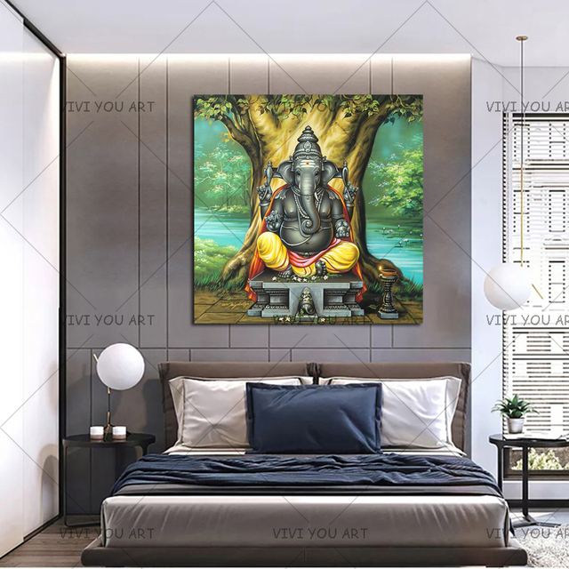 Us 197 88 49 Off 100 Handpainted Oil Painting Ganesha Buddha Wall Art A Perfect Painting For A New Home Office Or Hotel Decoration In Painting