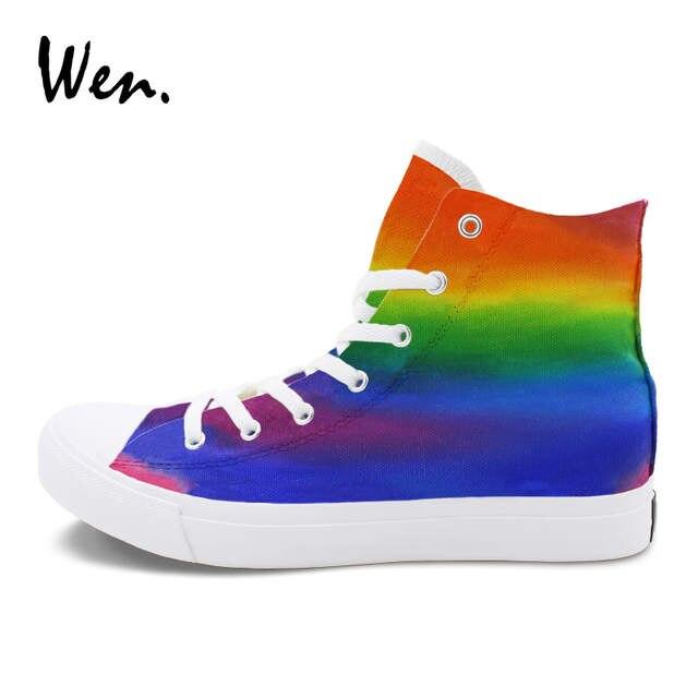 37de7579280 Online Shop Wen Rainbow Color Gradient Change Graffiti Painting Sneaker  Women Men Original Design Hand Painted Canvas Shoes Flat High Tops