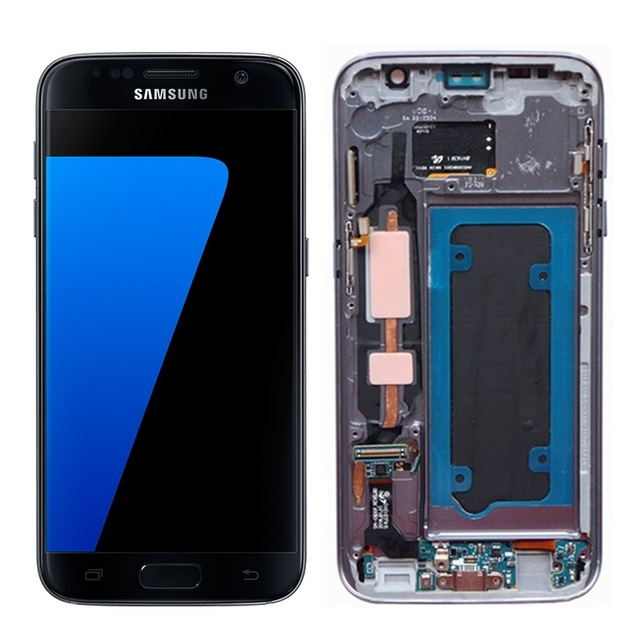 100% Replace Waterproof 5.5'' AMOLED LCD for SAMSUNG Galaxy s7 G930 G930F Touch Screen Digitizer Assembly Display + Frame
