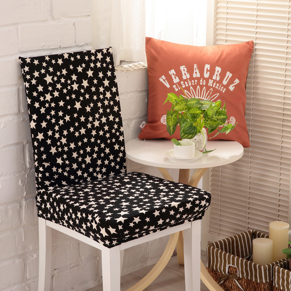 Yazi 1pc Black With White Stars Super Fit Stretch Dining Room Chair Covers Protector Slipcover Wedding