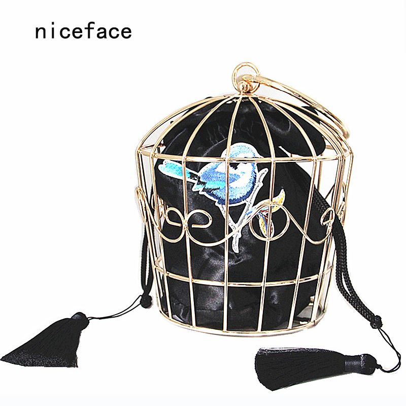 2016 Women unique Prom bags brand fashion Stylish metal hook flower embroidery hoop cage handbag novelty catwalk party dress bag