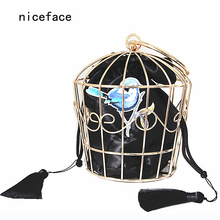 2017 Women unique Prom bags brand fashion Stylish metal hook flower embroidery hoop cage handbag novelty catwalk party dress bag