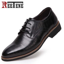 REETENE Big Size:35-48 Business Men Dress Shoes Genuine Leather Lace-Up Black Oxfords Shoes High Quality Flats For Male