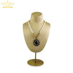 New Large Counter Jewelry Display Bust Gold PU Necklace Pendant Holder Mannequin With Adjustable Metal Shelf Window Promotion