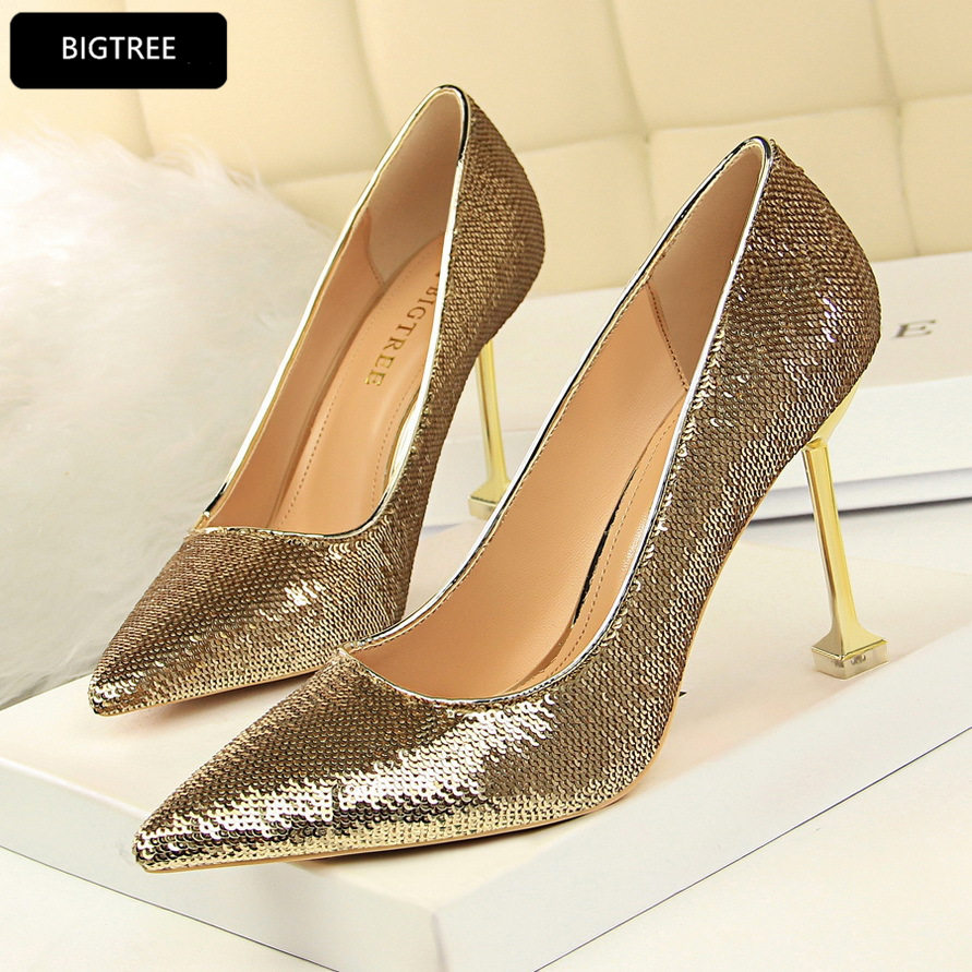 Ultra Heel 9.5CM New Sexy Fashion Party Night Club High Heels Shoes Bling Sequined Cloth Women Pumps 2018 For Ladies Wedding