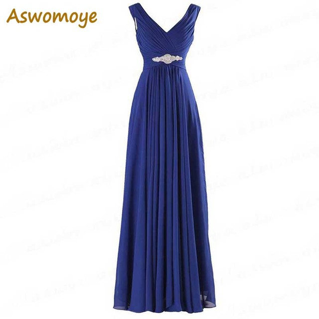 Long Evening Dress 2018 New Design Elegant Cheap Wedding Party Dress Royal  Blue Chiffon Prom Dresses robe de soiree longue b99d9c0a8b2c