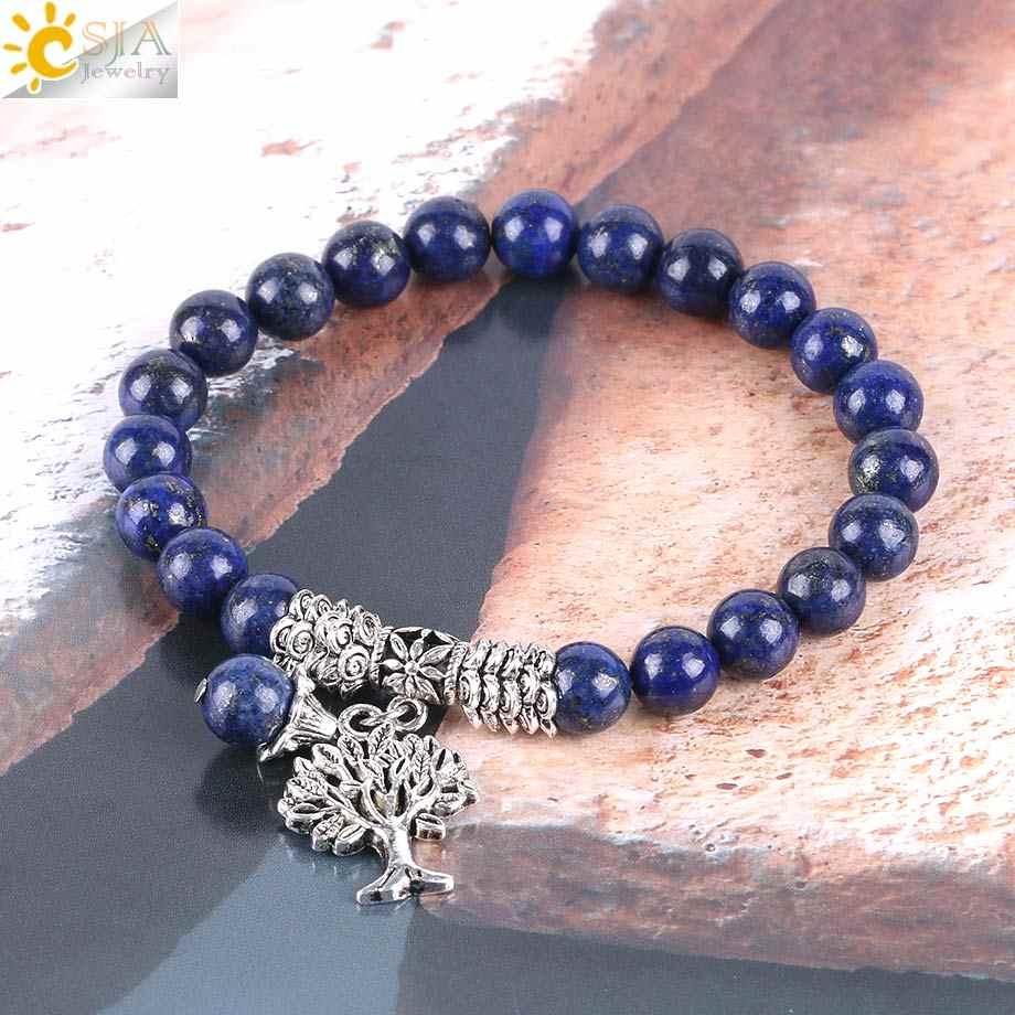 CSJA Chakra หินธรรมชาติ Lapis Lazuli สร้อยข้อมือ Tree of Life สร้อยข้อมือลูกปัด Mala Reiki Healing การทำสมาธิ Energy กำไลข้อมือ E747