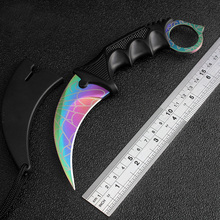 CSGO Counter Strike Karambit Knife Cosplay Never Fade steel Tiger Tooth Real game Knife camping Tactical survival Neck Knife