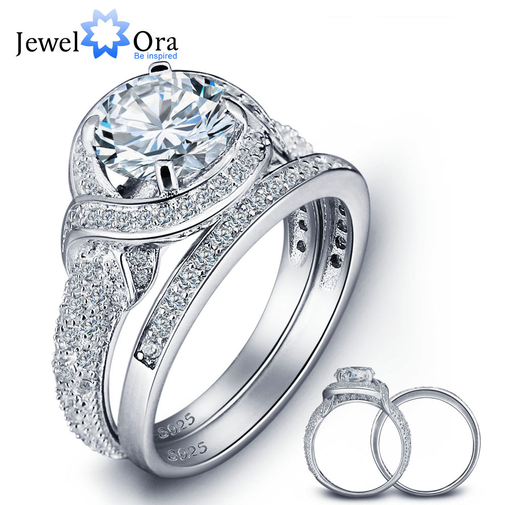 Romantic 925 Sterling Silver Engagement Ring Set Luxurious Women Silver  Bridal Ring Sets Wedding Jewelry (