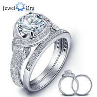 Romantic 925 Sterling Silver Engagement Ring Set Luxurious Women Silver Bridal Ring Sets Wedding Jewelry JewelOra