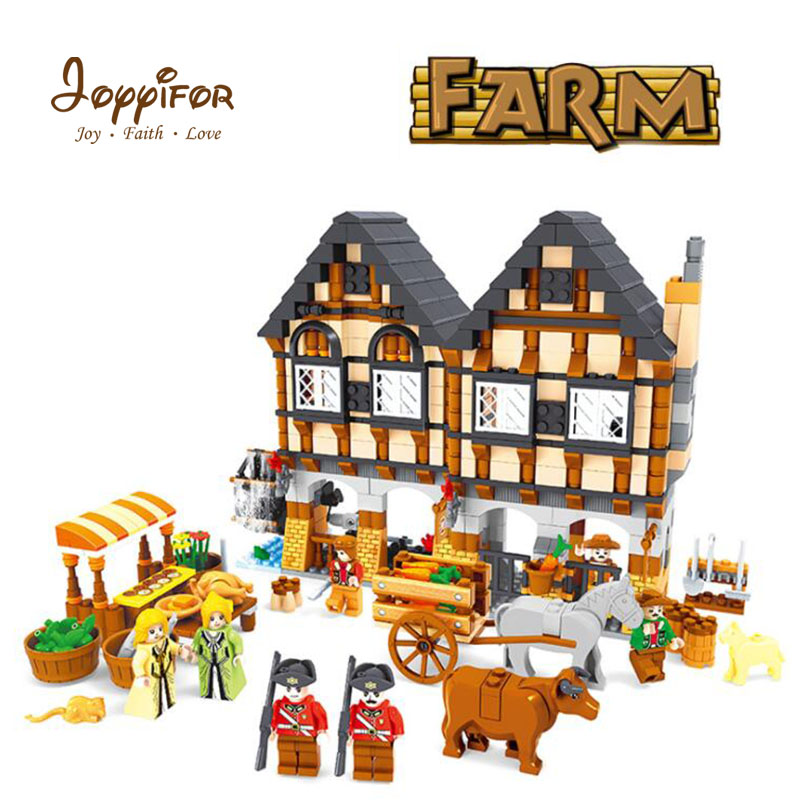 Joyyifor 884PCS City Medieval Happy Farm Model Building Blocks Bricks Figure Toys Compatible With LegoINGlys for Children Gift