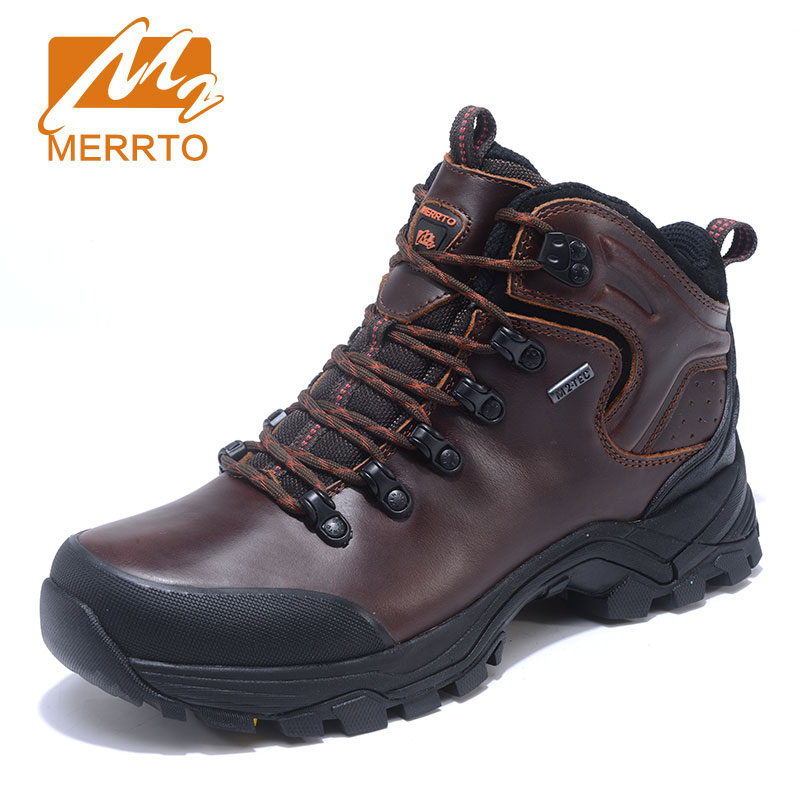 MERRTO Men High quality Leather Hiking Shoes Waterproof Wear resistant Comfortable Hiking Boots Outdoor Sports Shoes Outventure