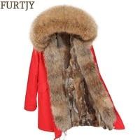 FURTJY 2018 real fur coat Winter Jacket Women Coat Real raccoon Fur collar raccoon fur liner long Parkas Streetwear Outerwear