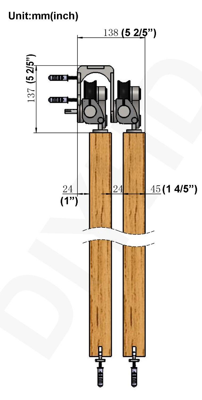 DIYHD 5ft/6ft/6.6ft/8ft Kit de rail de porte en bois de grange coulissante de contournement en acier inoxydable Kit de montage de dessus de porte de grange de contournement - 6