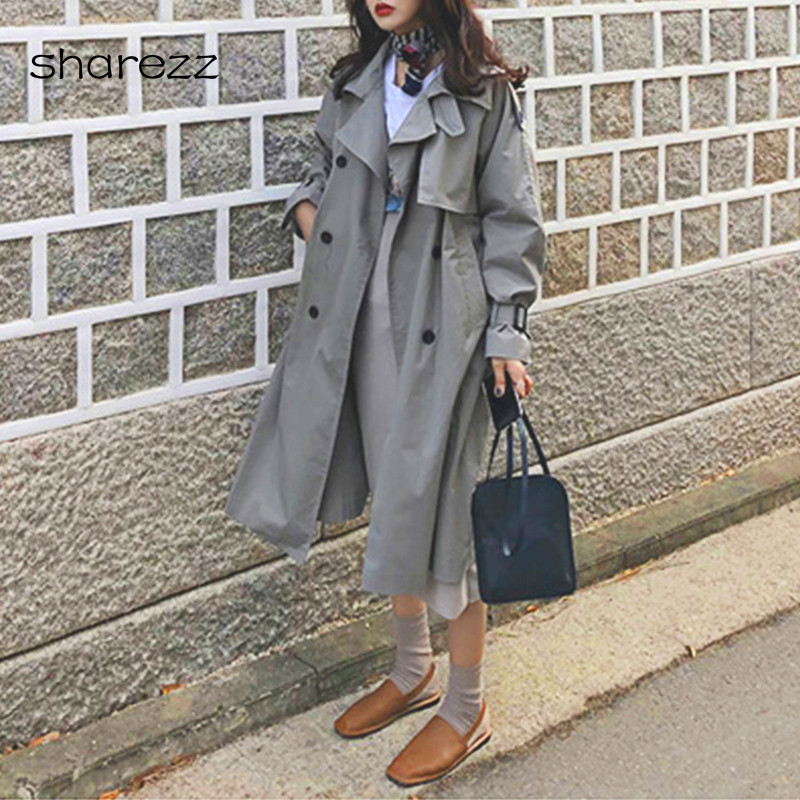 2019 New Arrival Korean Style Women Casual Loose   Trench   with Sashes Spring Long Elegant Coats Ladies Overcoat Outerwear