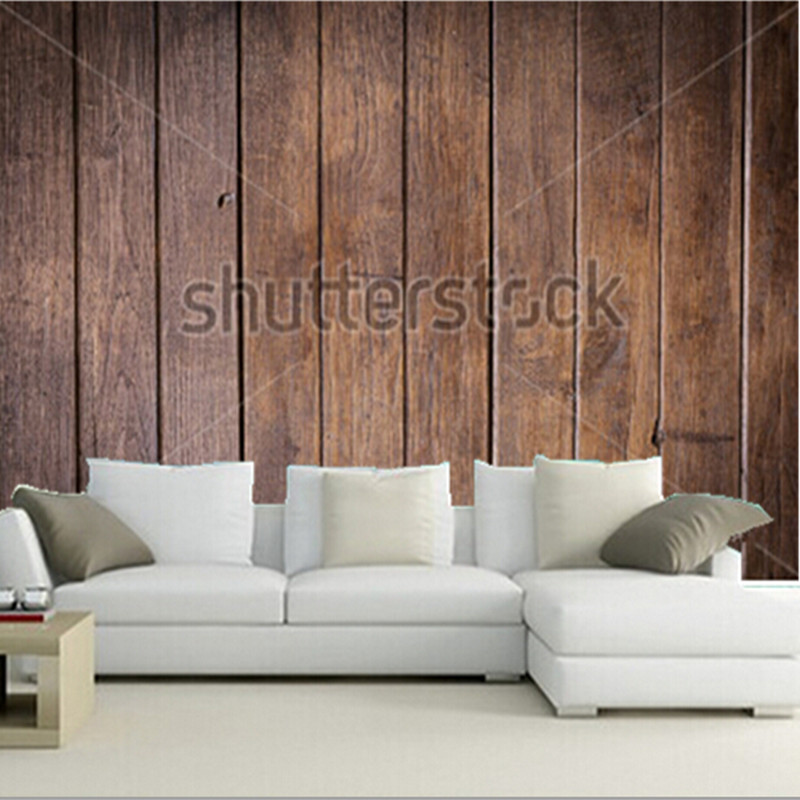 The custom 3D murals,timber wood brown wall plank vintage background,living room sofa TV wall bedroom wall paper