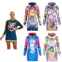 Cute Rainbow Unicorn Print Streetwear Hoodies Mini Dress Women Punk Rock Hip Hop Gothic Harajuku Kawaii Sweatshirt Pullovers