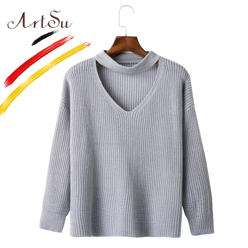ArtSu Sexy V-Neck Choker Knitted Sweater Spring Autumn Solid Womens Cardigan Sweaters Casual Cotton Long Sleeve Tops ASSW20015