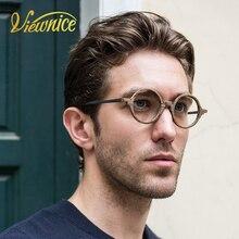 Viewnice Retro Mens Eyeglasses Wooden Acetate Frames Round Glasses Frame Women Myopia Wood Eyewear Anti-blue light Clear